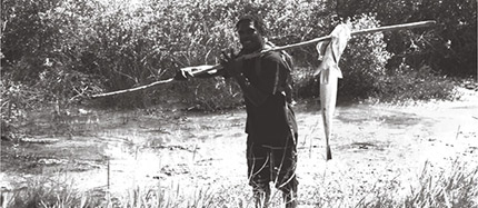 A photograph showing a man fishing barramundis