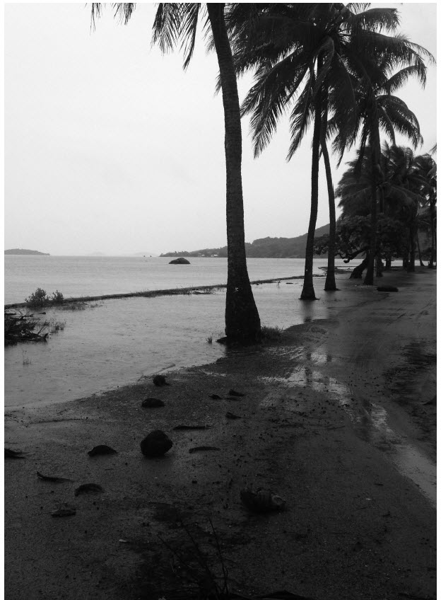 a photograph of Badu foreshore king tide inundation