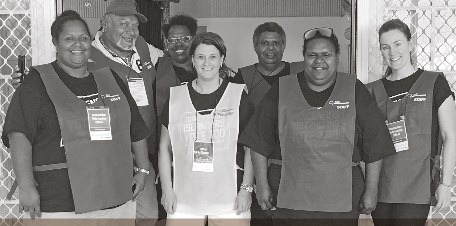 a photograph of AEC IEPP TEAM READY FOR POLLING AT THE PORT KENNEDY COMMUNITY HALL, THURSDAY ISLAND. IMAGE: AUSTRALIAN ELECTORAL COMMISSION.