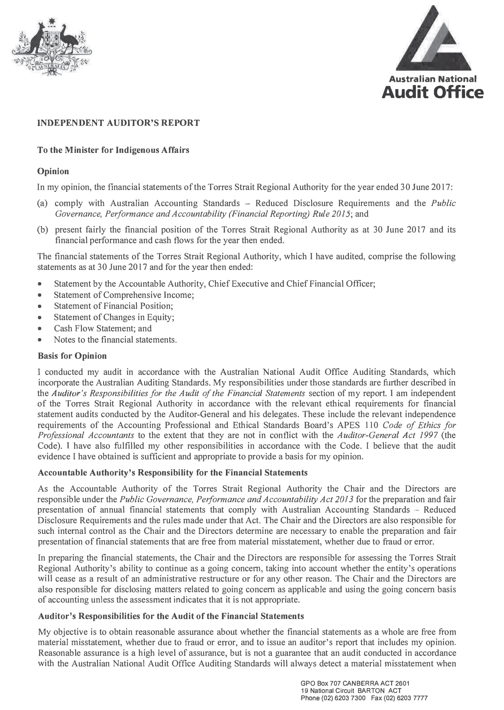 a photograph of Independent Auditor's Report (page 1)