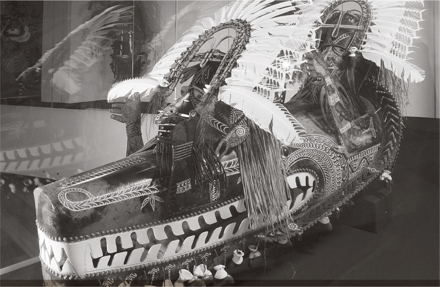 a photograph of PROMINENT TORRES STRAIT ARTIST ALICK TIPOTI'S MASK 'KOEDAL AWGADHALAYG' AT THE NATIONAL MUSEUM OF AUSTRALIA.