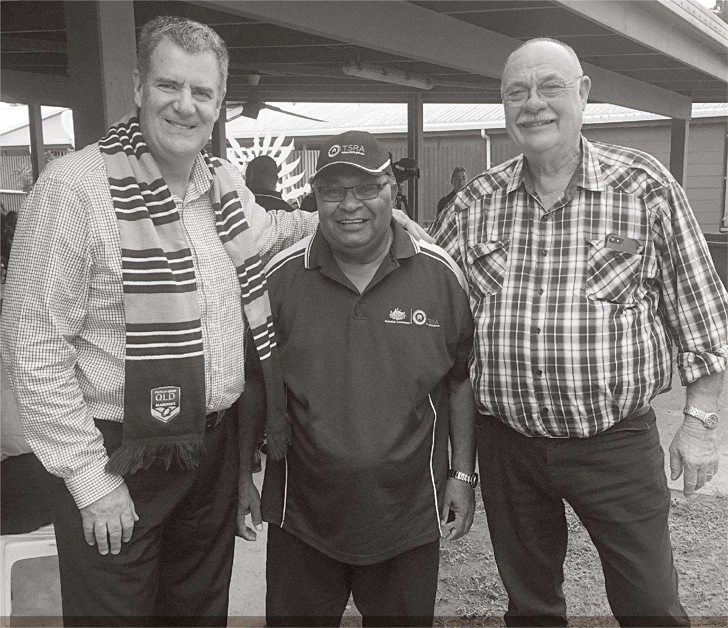 a photo of TSRA CHAIRPERSON WITH QUEENSLAND MINISTER FOR ABORIGINAL ANDTORRES STRAIT ISLANDER PARTNERSHIPS THE HON. MARK FURNER AND MEMBER FOR LEICHHARDT THE  HON. WARREN ENTSCH AT THE SAIBAI SEAWALL OPENING.