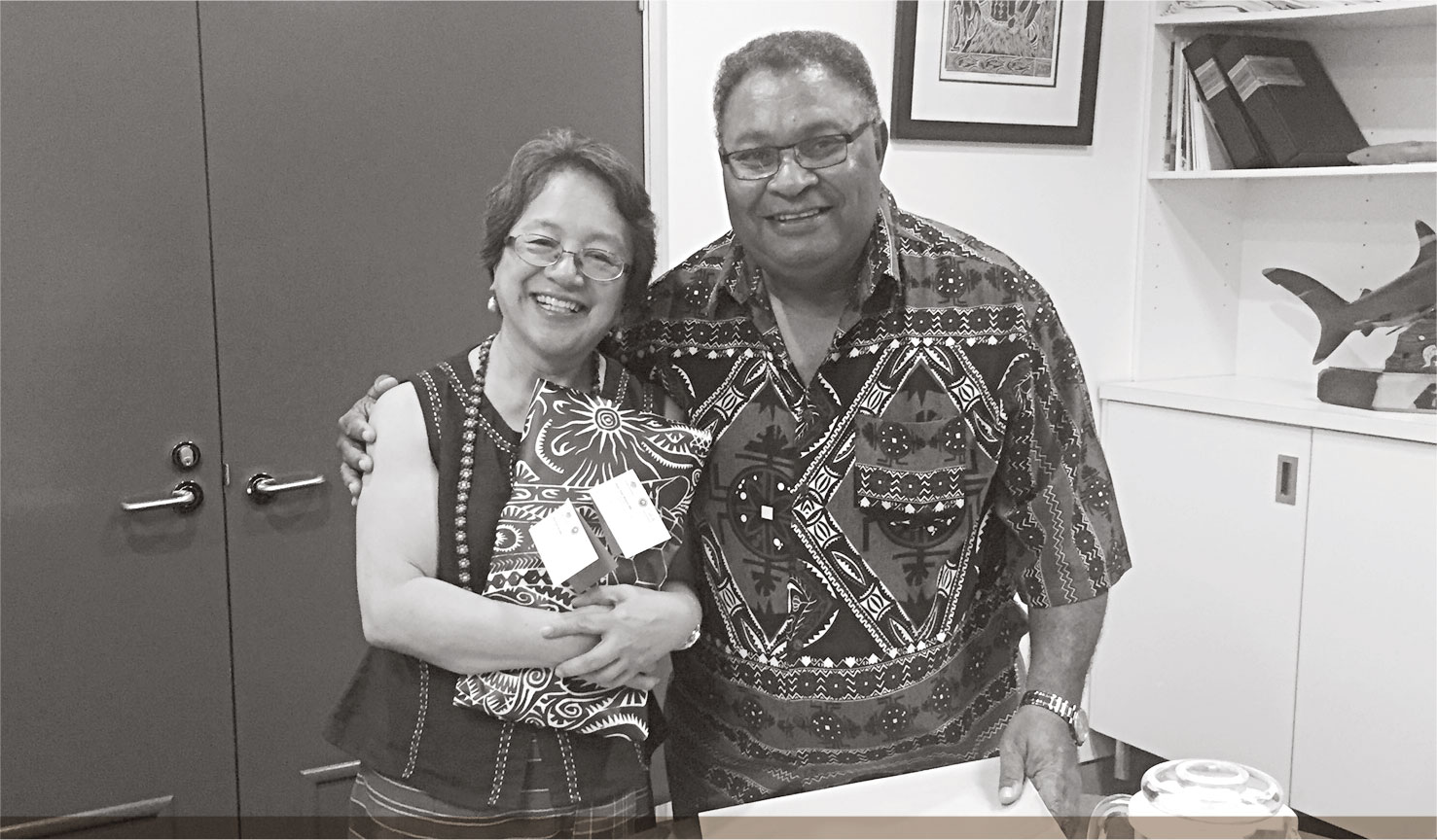 a photo of TSRA CHAIRPERSON WITH THE UNITED NATIONS SPECIAL RAPPORTEUR ON THE RIGHTS OF INDIGENOUS PEOPLE, MS VICTORIA TAULI-CORPUZ.
