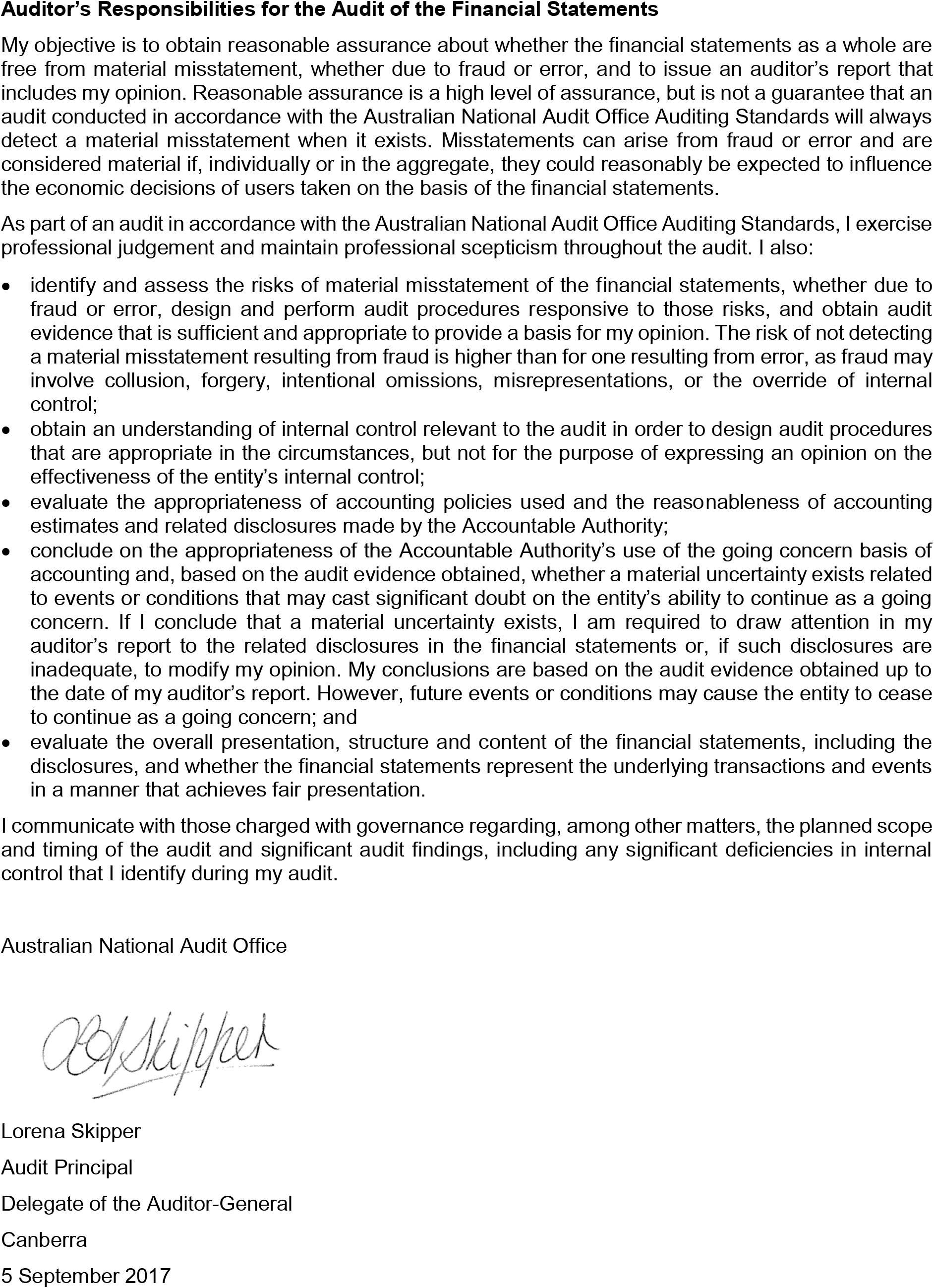 A photograph of the Independent Auditor's Report, page 2