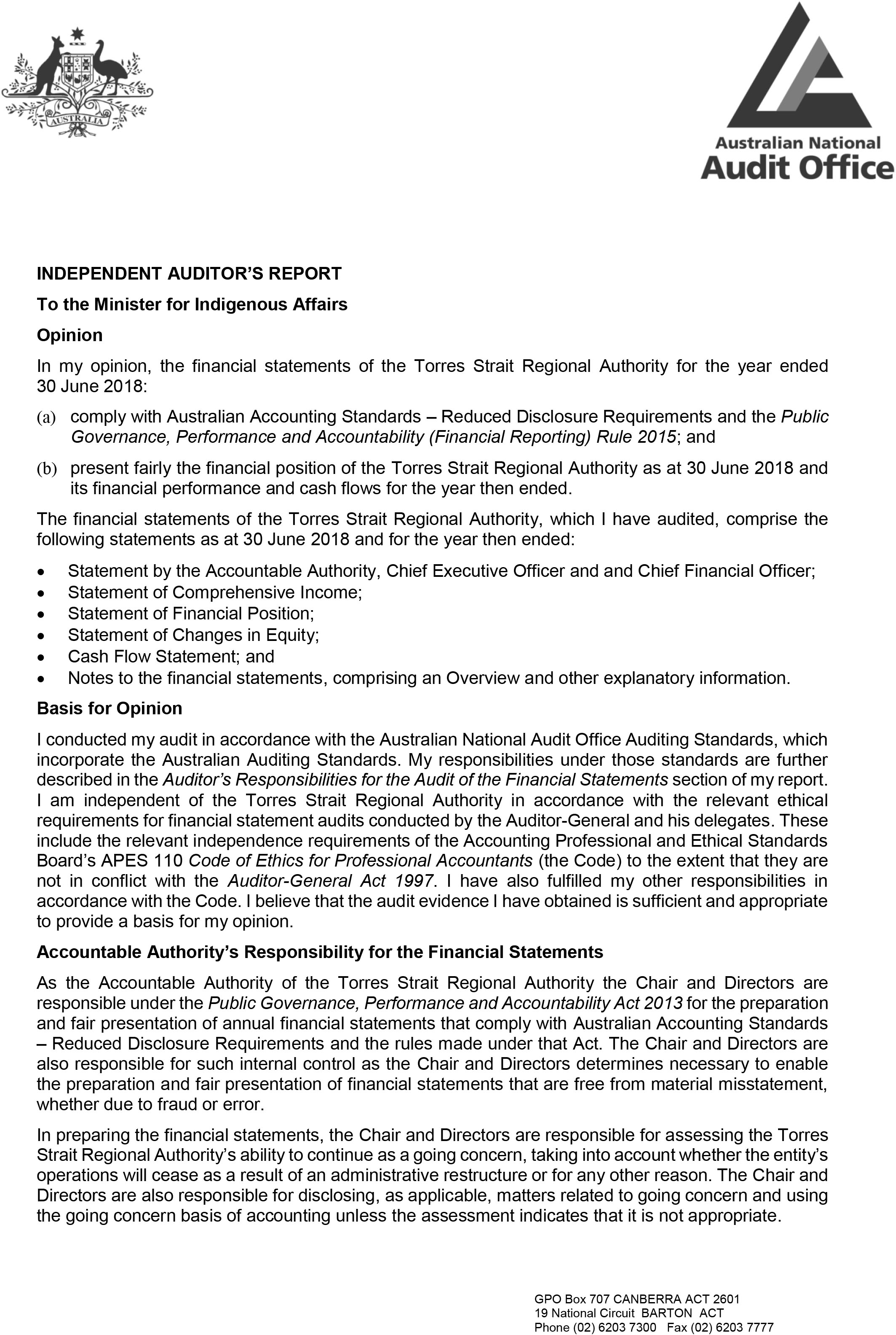 A photograph of the Independent Auditor's Report, page 1