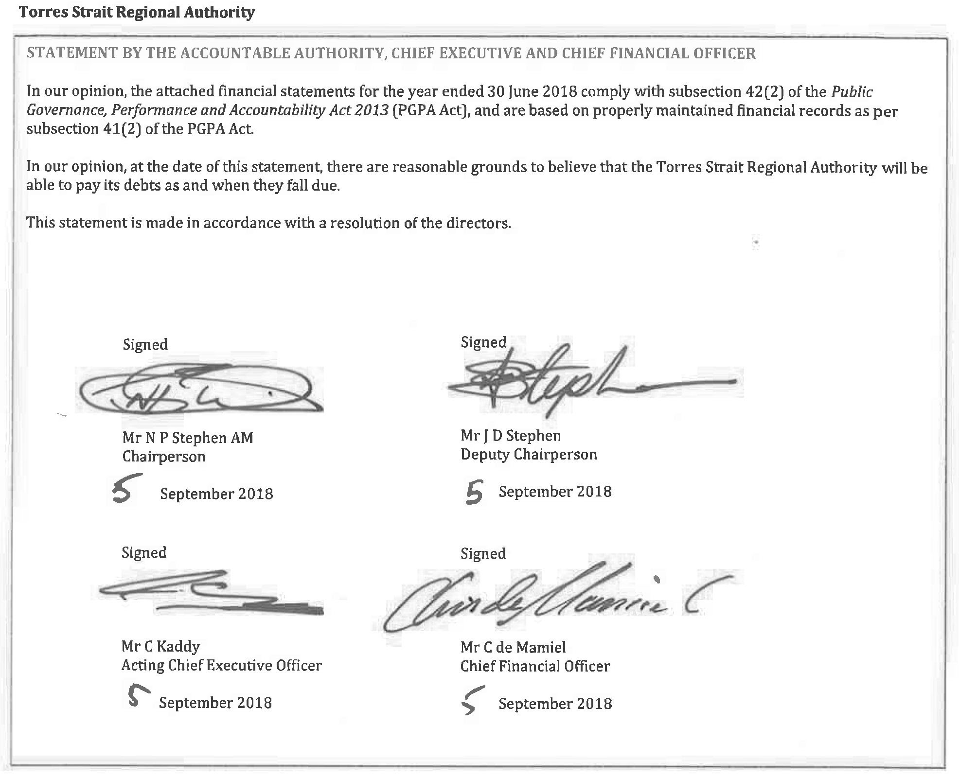A photograph of the Statement by the Accountable Authority, Chief Executive and Chief Financial Officer
