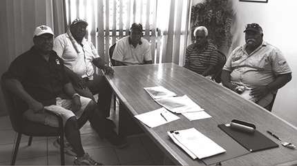 A photograph of Indigenous Land Use Agreement signing, Warraber