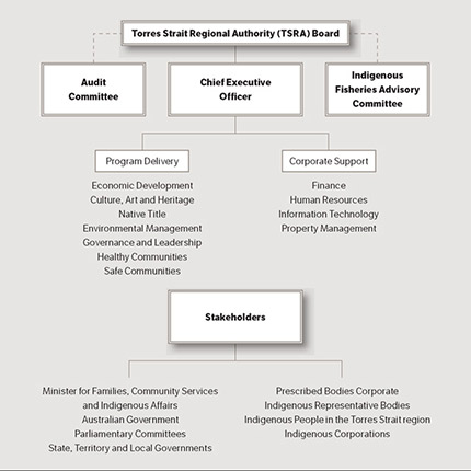 A chart illustrating TSRA's governance structure