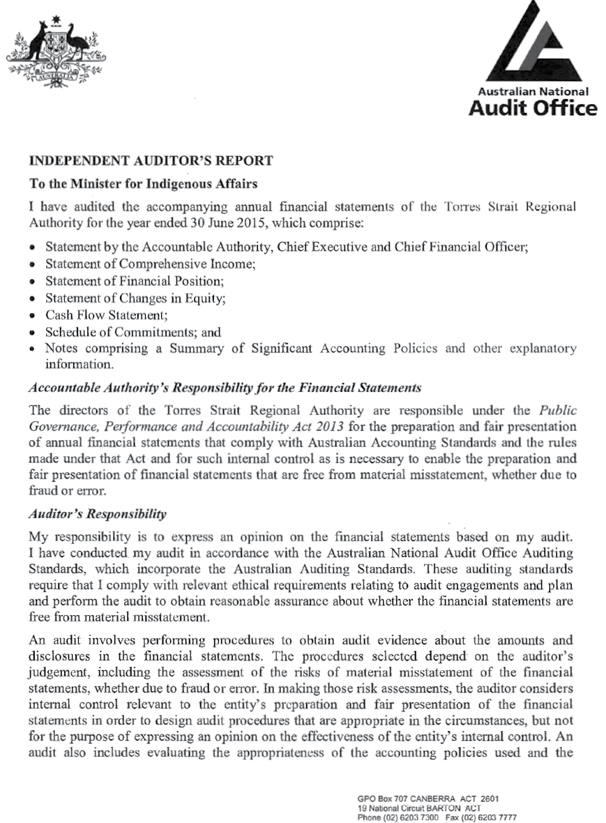 a photograph of Australian National Audit Office letter, page 1