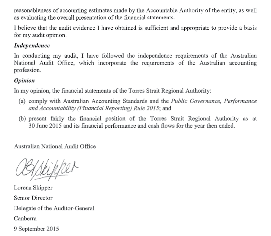 a photograph of Australian National Audit Office letter, page 2