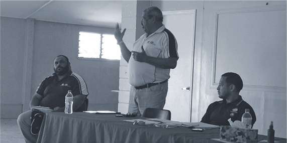 a photograph TSRA Member For Dauan, TSRA Chairperson And TSRA Chief Executive Officer Conducting Community Consultations With The Dauan Community