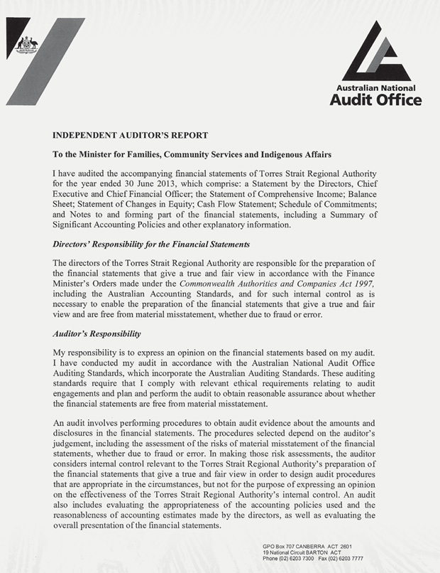 A photocopy of the independent auditor's report, page 1