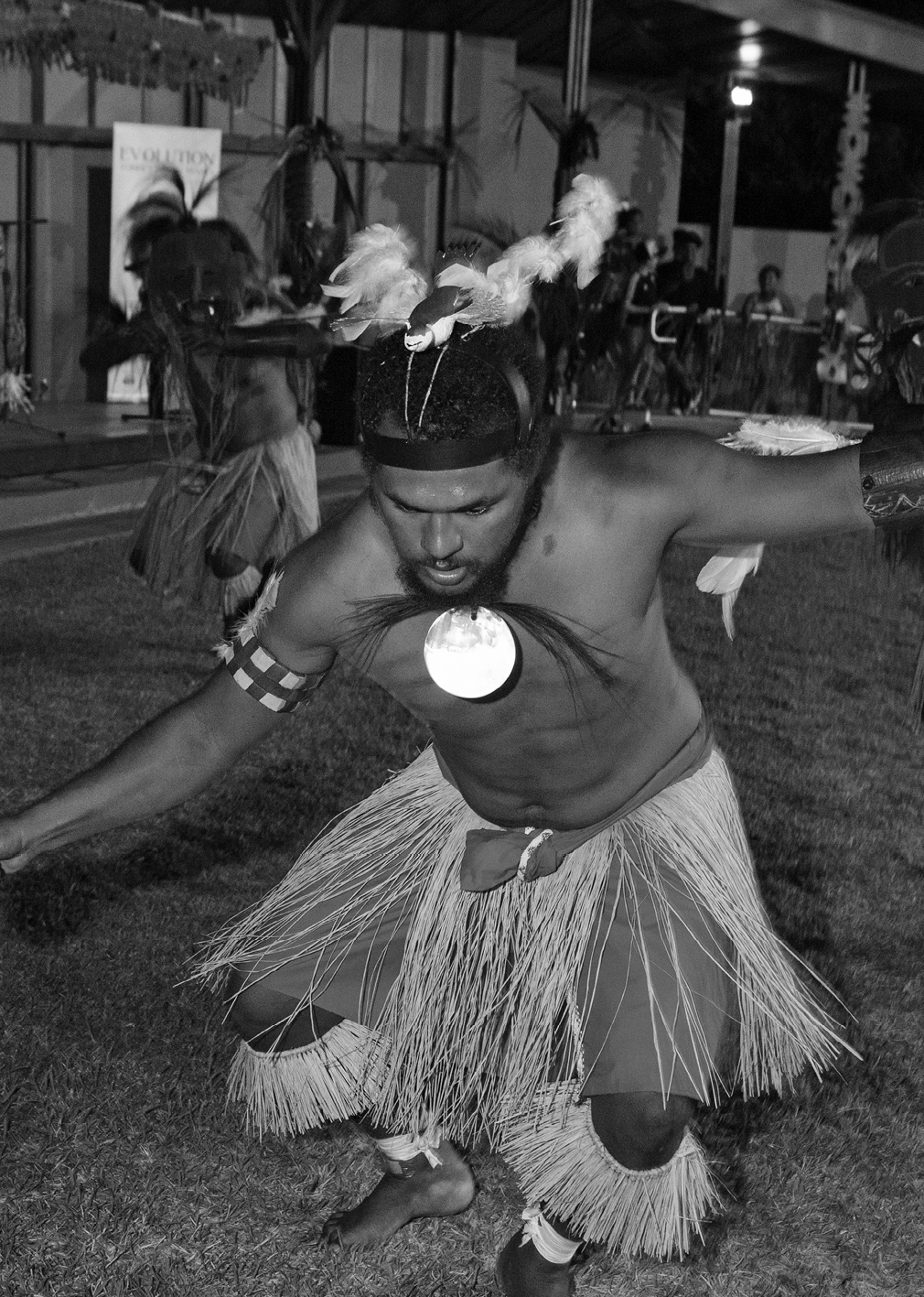 A photograph of dancers performing at Torres Strait Masks exhibition